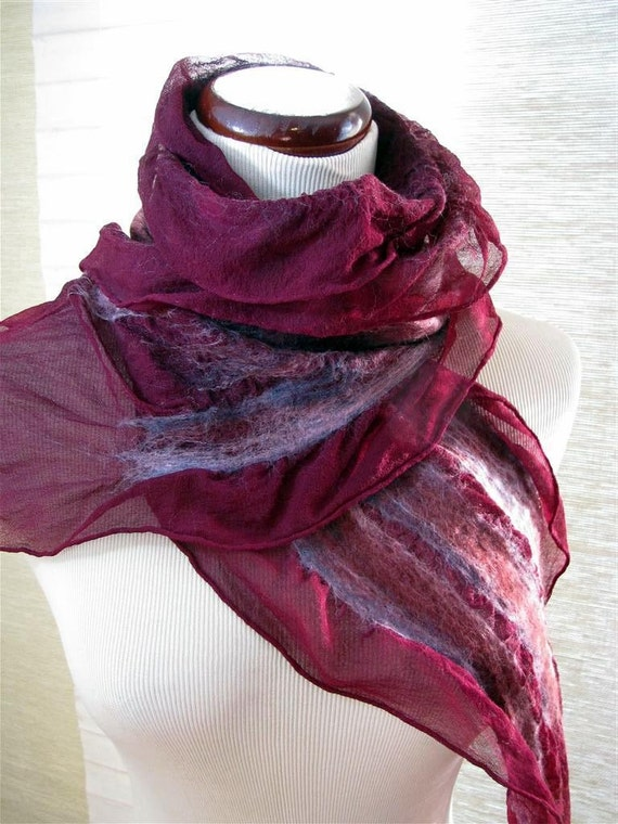 Scarf - Nuno Felt  Ruffle - Handmade OOAK - Pink and Purple Merino Wool on Burgundy Silk 809