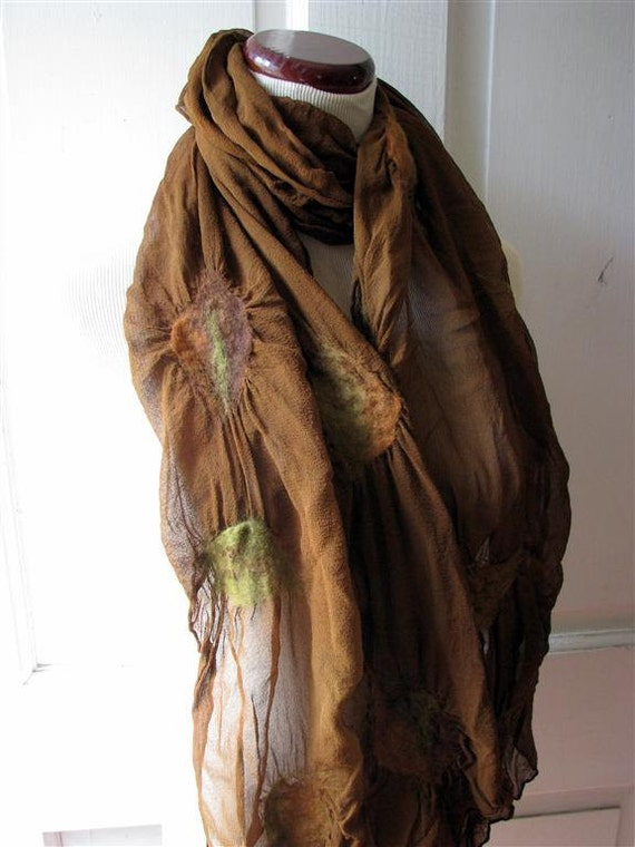 Brown Scarf, Shawl, Wrap, Ruffled Scarf, Nuno Felted Silk Scarves,  Handmade, Gifts for Her,  Falling Leaves on Brown 863