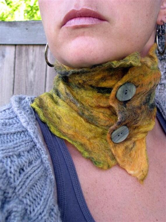 Nuno Felt Scarflette - Yellow Merino Wool on Yellow Silk  868