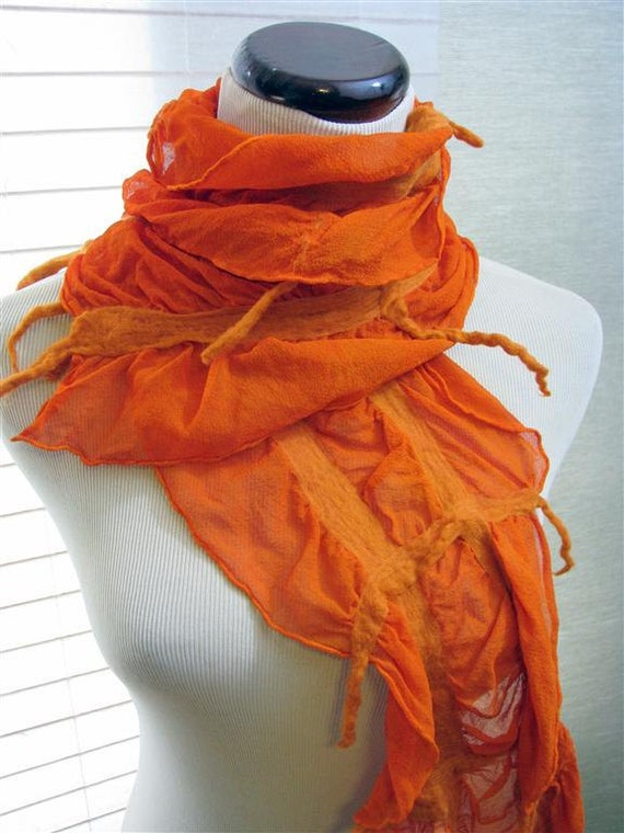 Scarf Nuno Felt  Ruffle - Citrus Grid Orange Merino Wool on Orange Silk 962- Free Shipping Etsy