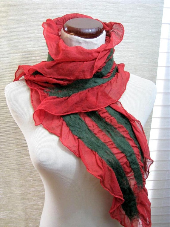 Red and Green Scarf, Nuno Felt Scarf,  Red and Green, Merino Wool and Silk 1087
