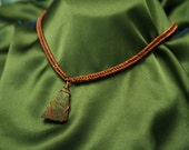 Ammolite and aged copper boxchain weave necklace