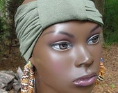 Natural hair Accessories-TurbanBand-Olive Green