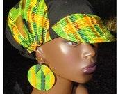 Billed Hat-Newsboy-Newsgirl-Kente-Black Denim-Reversible w/matching Earrings