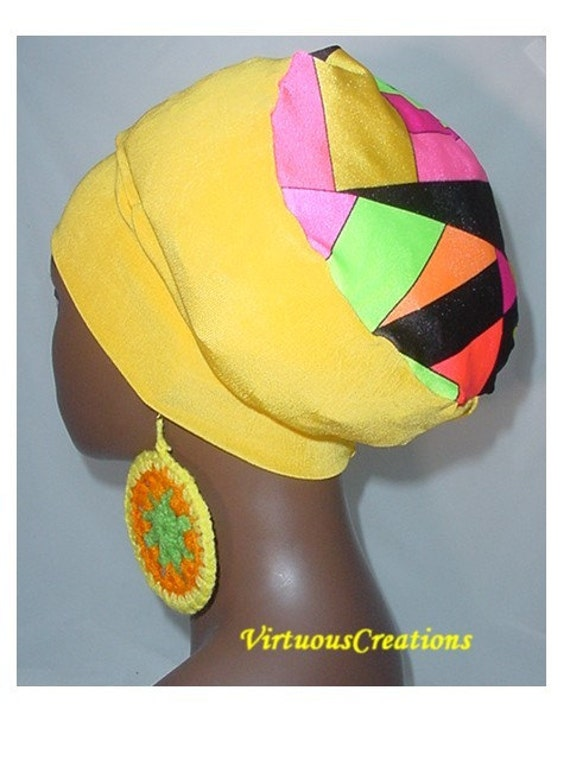 SALE-Natural Hair Accessories-Crown-Yellow-Multi Color Block Design