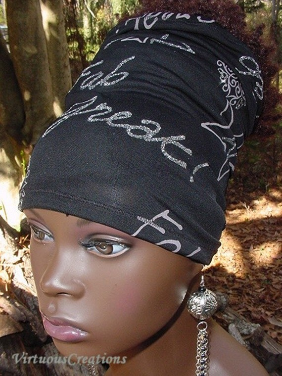 Headband-Tube-Dreadlocks-Black & Silver Glitter-Fab-Great