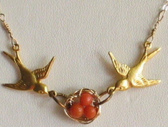 Valentines Day SALE-Antique Coral- Bird Necklace-FREE SHIPPING
