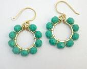 Sunburst Earrings: Turquoise & Gold