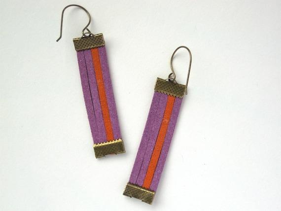 Lost Highway Leather Earrings - Color Block Orange & Purple