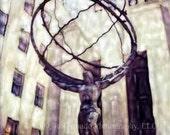 Atlas in New York City- Polaroid SX-70 Manipulation - 8x8 Fine Art Photograph