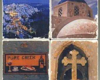 Santorini Greece Collection - 4 original coasters