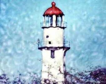 Diamond Head Light in Oahu Hawaii - Polaroid SX-70 Manipulation - 8x8 Fine Art Photograph