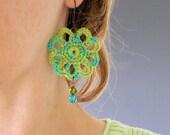 PDF Crochet Pattern - Peacock Earrings