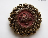 Antique Picture Button Brooch- Basket of Flowers