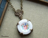 Handpainted Vintage Milk Glass Button Necklace, English Garden