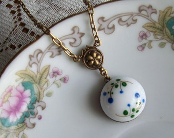 Little Blue, Vintage La Mode Milk Glass Button Necklace