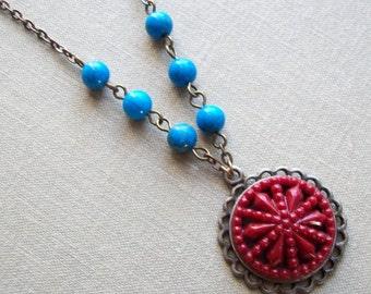 Montana Sky, Vintage Button Necklace