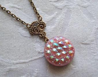 Le Chic Pink, Vintage Glass Button Necklace