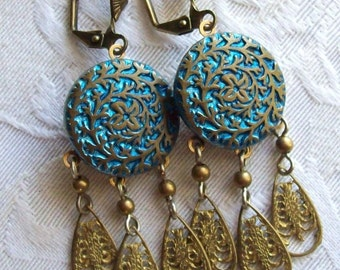 Antique Button(c.1800's) Earrings- Azure Blue Background with Vine and Flower Design