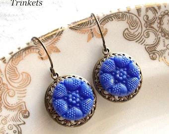 Royal Blue, Vintage Glass Button Earrings