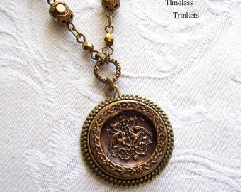 Antique Button Necklace with Czech Glass Beads- Dueling Dragons