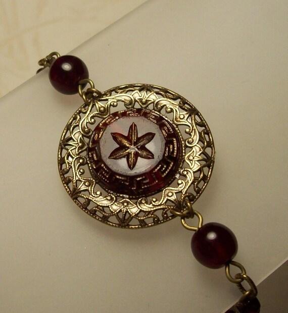 Cyprus, Antique Cranberry Glass Button Bracelet