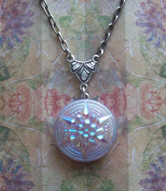 Sale-Moravian Star, Czech Art Glass Button Necklace - Lilac