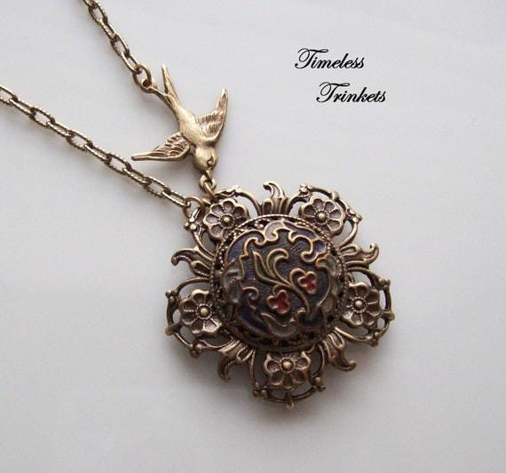 Bleeding Heart, Antique Enamel Button Necklace