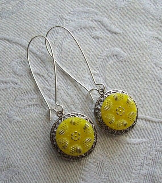 Lemon Drop, Vintage Glass Button Earrings