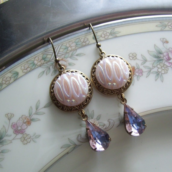 Cotton Candy, Vintage Glass Button Earrings