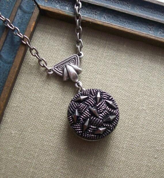 Crystal Maze, Vintage Glass Button Necklace