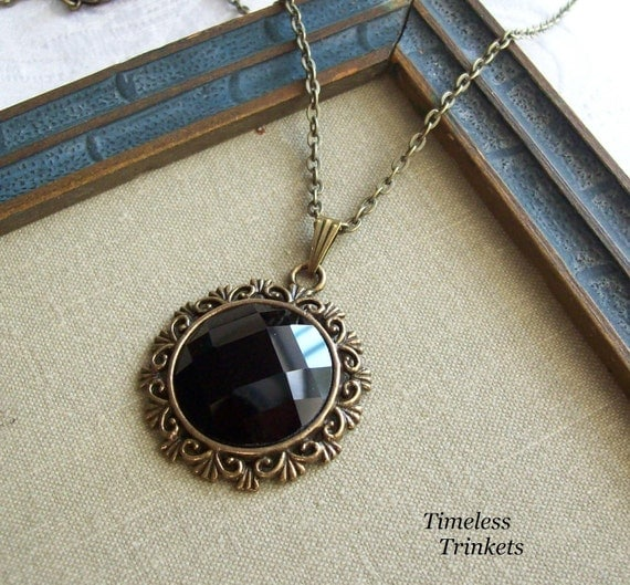 Jet Black Faceted Glass Necklace