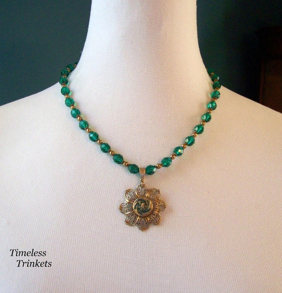 Esmeralda, Antique Button Necklace with Czech Glass Beads, One of a Kind, Beautiful and Unique- Matching Earrings Included