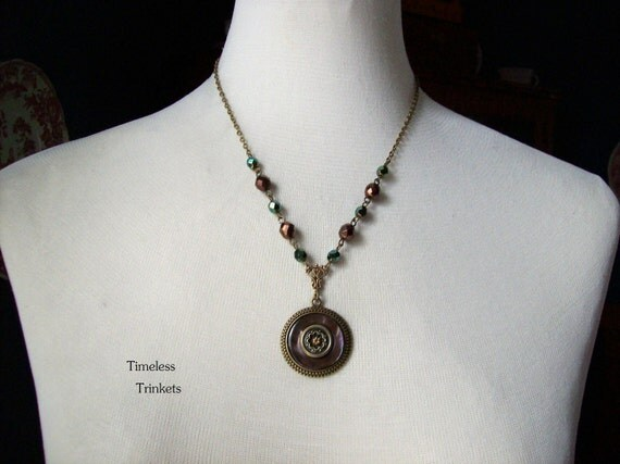 Forest Glen, Antique Button Necklace-One of a Kind, Beautiful and Unique