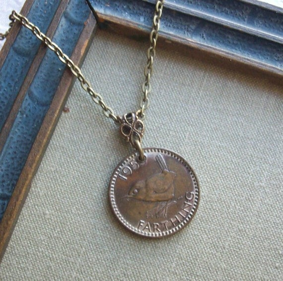 A Wee Little Birdie,  Farthing Vintage Coin Necklace