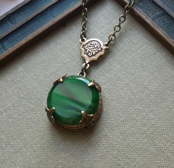 Antique Glass Button Necklace, Malachite Green
