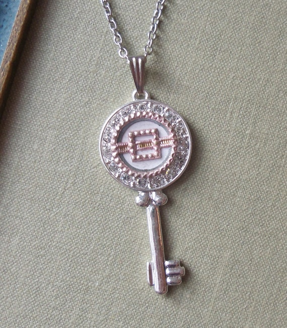 Pink, Antique Button Key Necklace