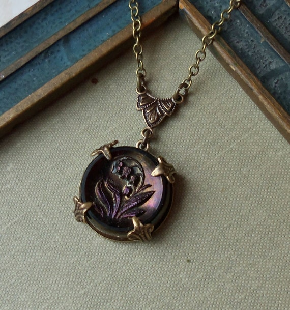 Victorian Antique Glass Button Necklace-Lily of the Valley