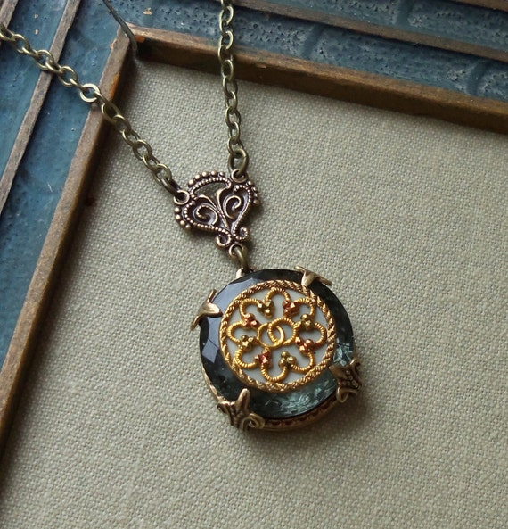 Antique Button Necklace- Depression Glass and Victorian Button- Eternity