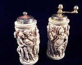 Bas Relief Roman Scene Salt and Pepper Shakers