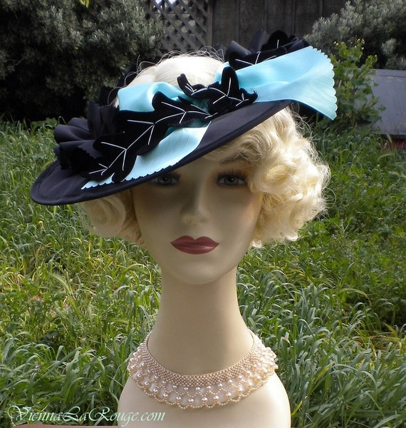 Bavarian Chic, 1930s style open crown saucer hat.