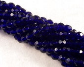 6mm Cobalt Firepolish Czech Beads (50)