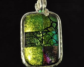 Glowing Shades of Green and Gold... Fine Silver Pendant with Dichroic Glass Cabochon