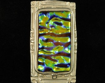 Iridescent ripples in dichroic glass and fine silver pendant