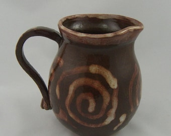 Small Brown Stoneware Pitcher holds two cups handcrafted OOAK