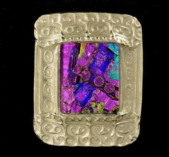 Dramatic Dichroic Glass and Fine Silver Pendant