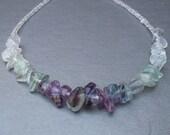 Purple green fluorite necklace: PURPLE CONTINUITY beaded fluorite handmade necklace