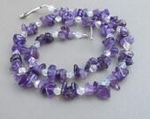 Amethyst purple necklace -  AMETHYST SPARKLE beaded handmade necklace