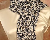Blue White Hand Knit Scarf