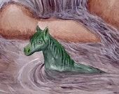 Kelpie- Water horse painting 7X10 original